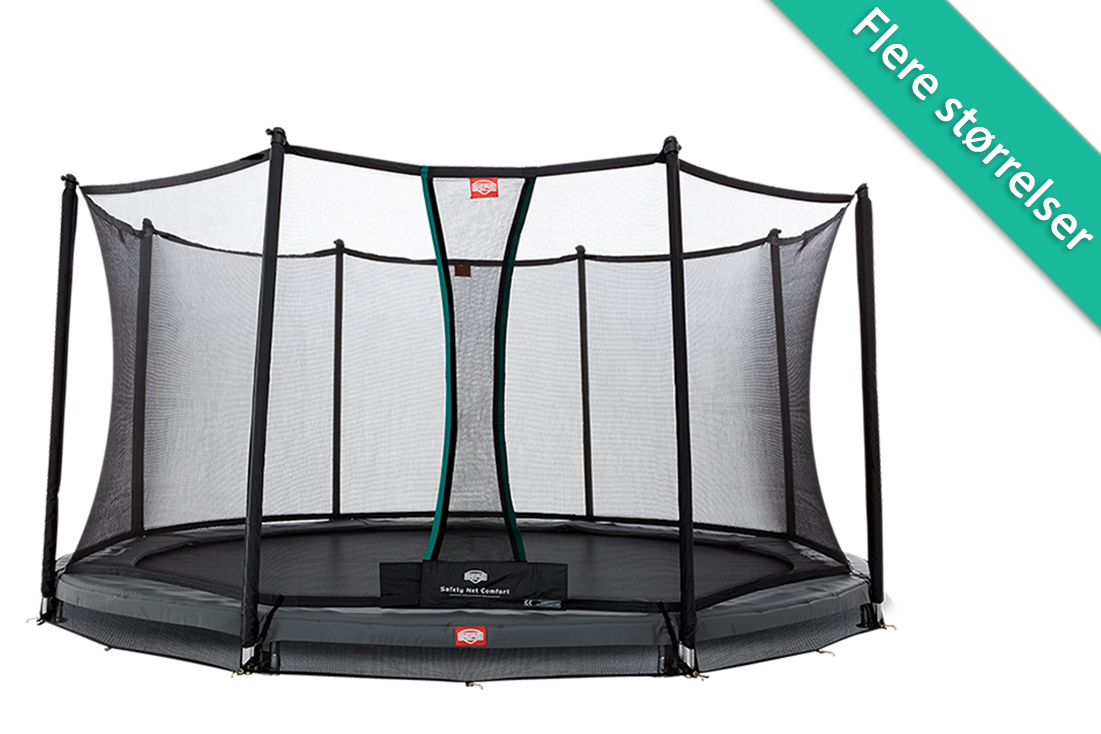 Image of Berg Champion InGround trampolin med comfort sikkerhedsnet i grå - 380 cm