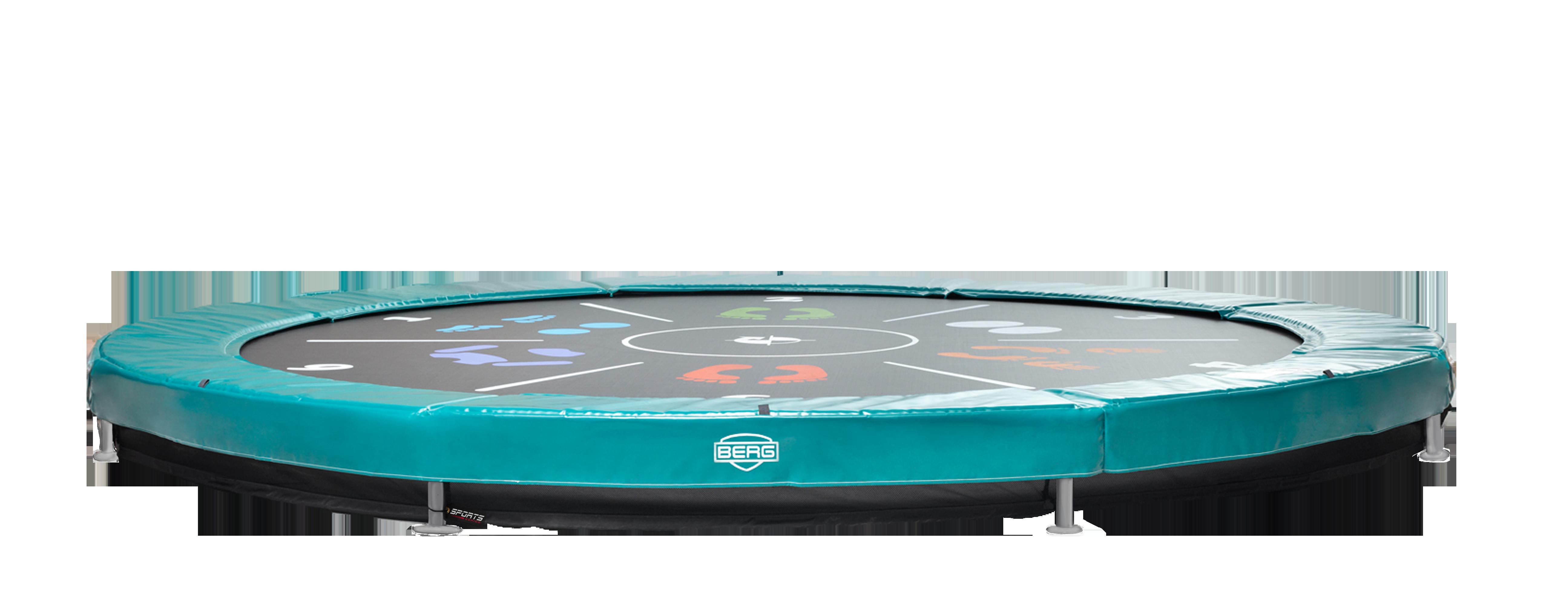 Berg Elite+ trampolin til nedgravning grøn - 430 cm med tattoo springdug