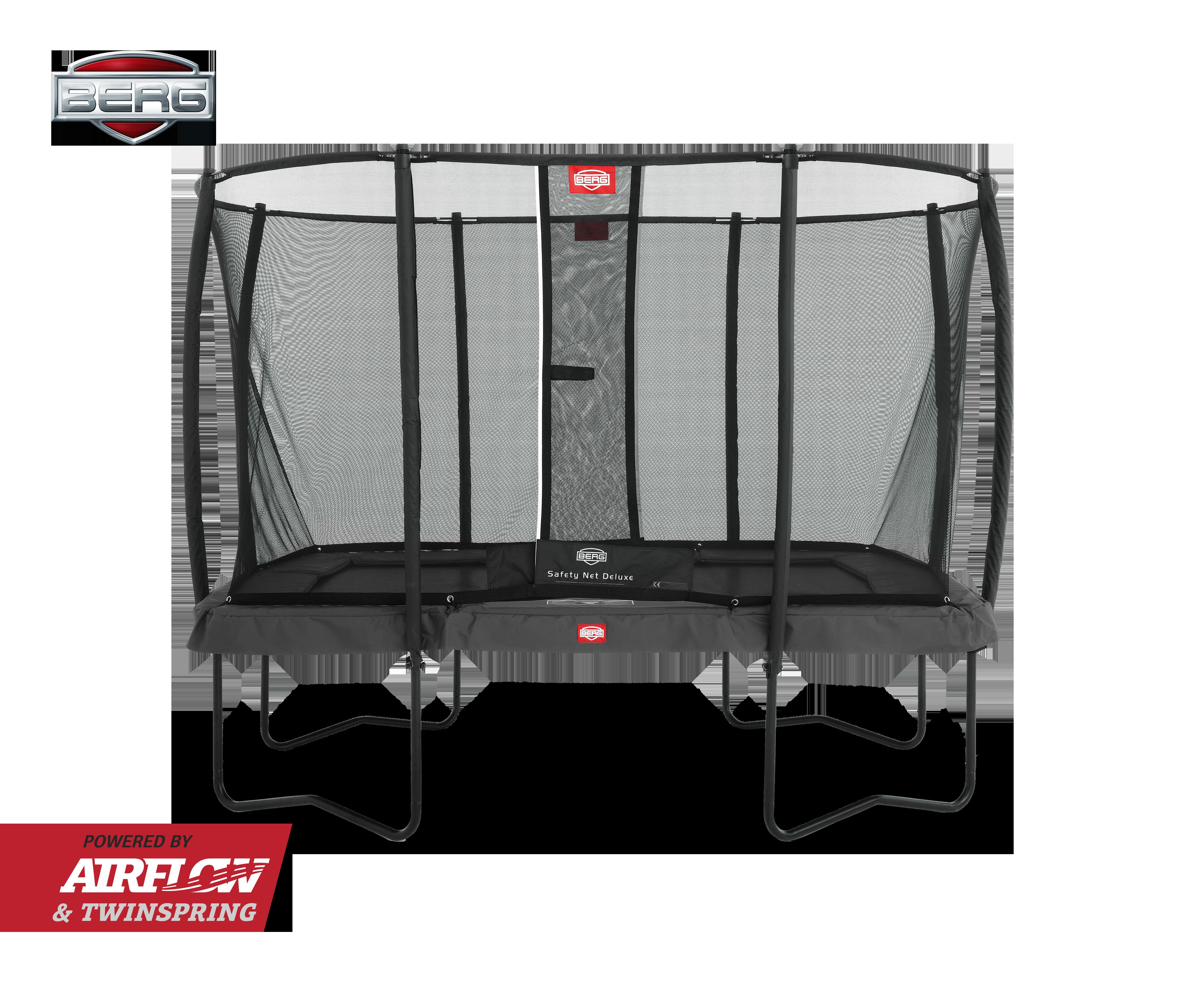 Berg Eazyfit rektangulær grå trampolin med sikkerhedsnet