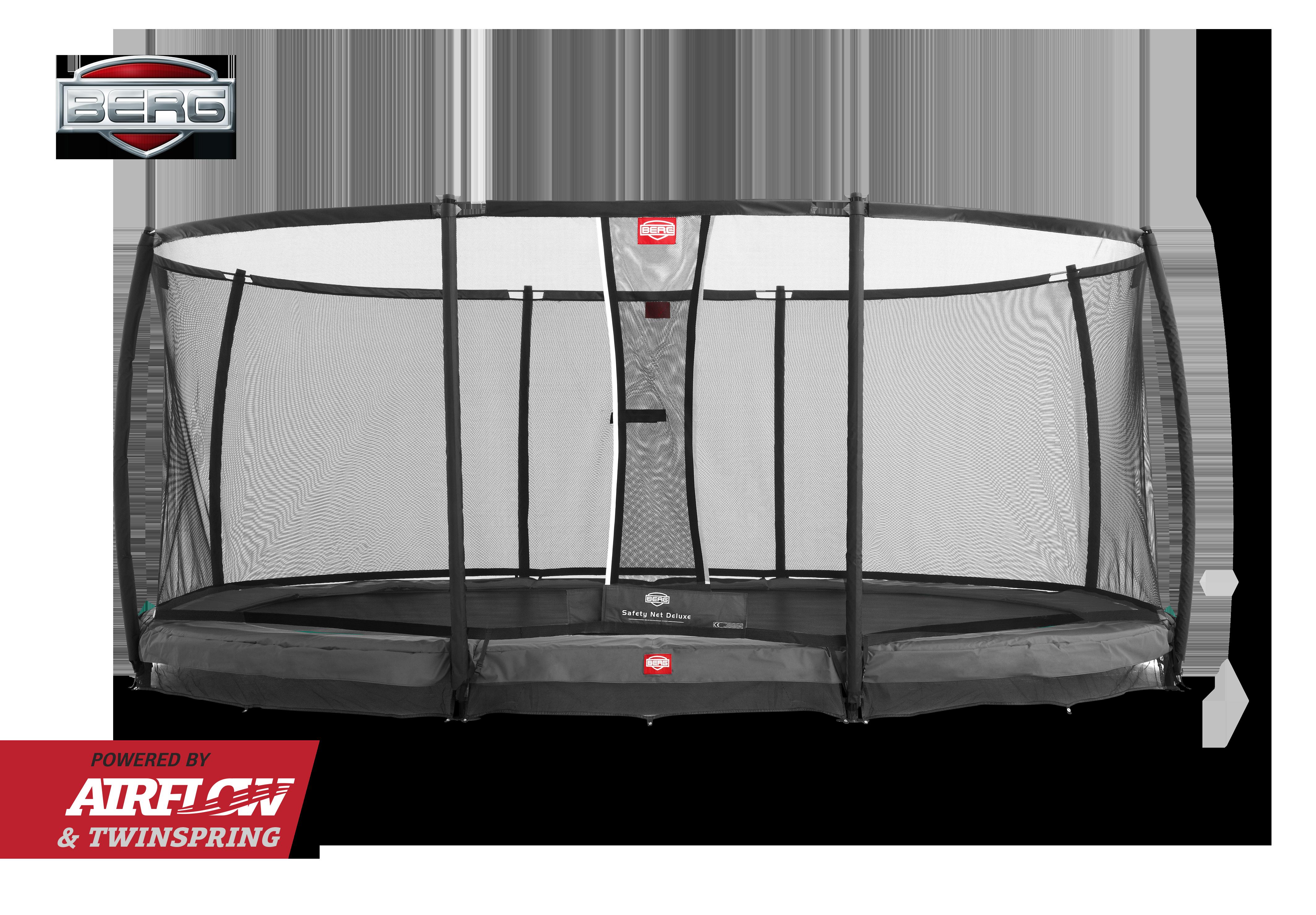 Berg Grand Champion oval trampolin til nedgravning med sikkerhedsnet grå